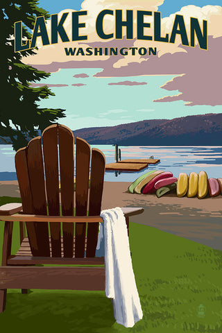 Lake Chelan Adirondack Chairs & Lake - Coaster