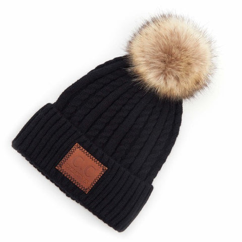 Black C.C HAT-3478 Double Braided Knit Pom Beanie with C.C Brand Leather Patch