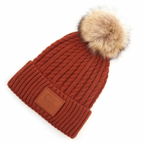 Rust C.C HAT-3478-Double Braided Knit Pom Beanie with C.C Brand Leather Patch