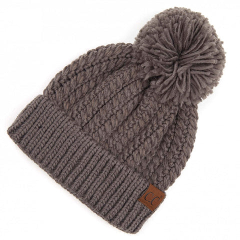 Twisted Mock Cable Knit Pom Beanie Grey