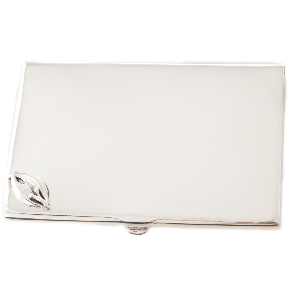 Silver Card Case with Gum Leaf