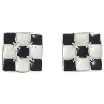 Square Black & White Enamel