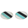 Oval White Black & Green Cufflinks