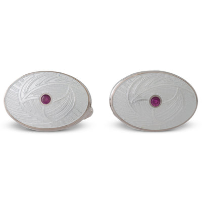 White Enamelled Cufflinks with Ruby