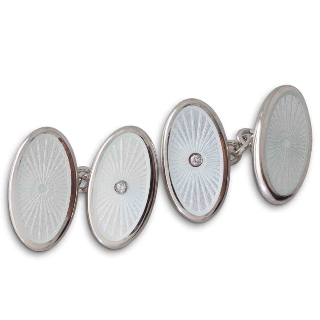 White Enamelled Diamond Cufflinks