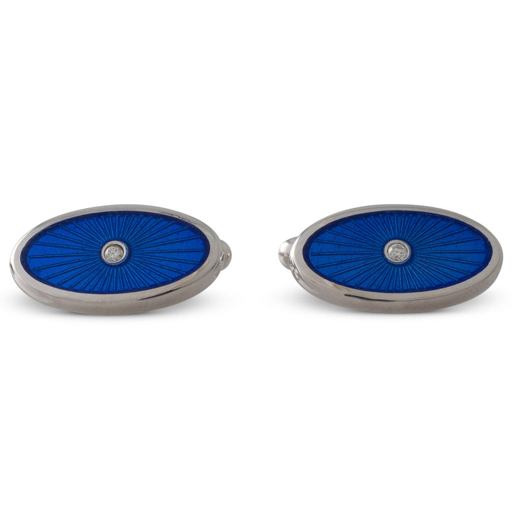 Blue Enamel Diamond Cufflinks