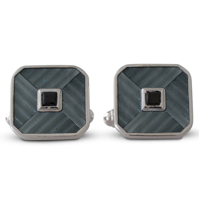Grey Enamel and Onyx Cufflinks