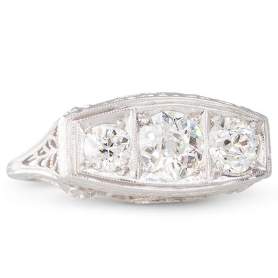 A Three Stone Deco Ring