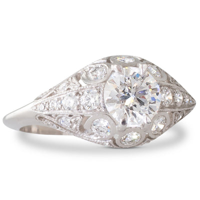 A French 0.73ct Diamond Plaque Ring
