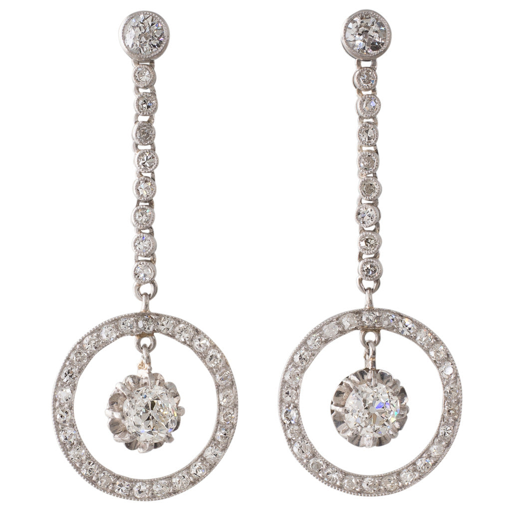 French Diamond Dress Drop Earrings