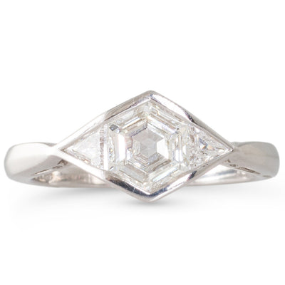 A 0.90ct Hexagonal Cut Diamond Ring
