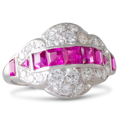 Ruby and Diamond Deco Ring