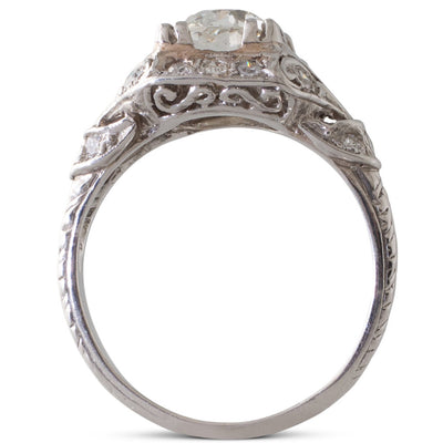 A Platinum & Diamond Plaque Ring