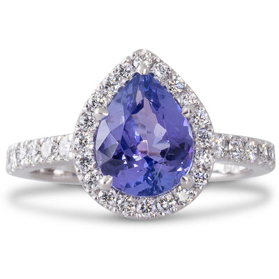 Tanzanite and Diamond Cluster Ring