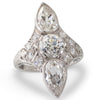Plaque Ring Pear Shape Diamonds