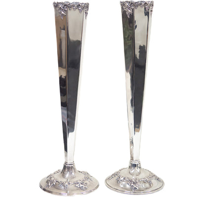 A Pair of Tall Silver Plate Vases