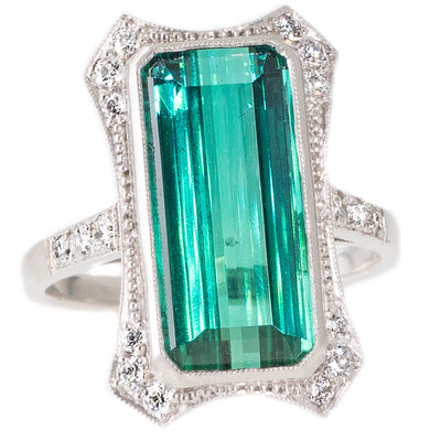 Deco Style Green Tourmaline Ring