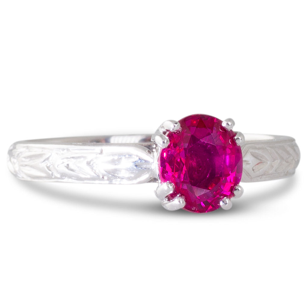 Ruby Solitaire with Engraving