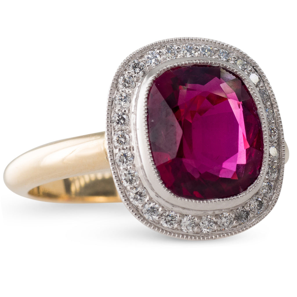 Cushion Cut Ruby Cluster Ring