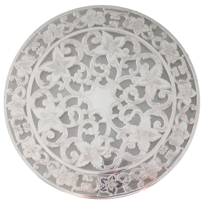 A Glass Trivet with Overlay Silver