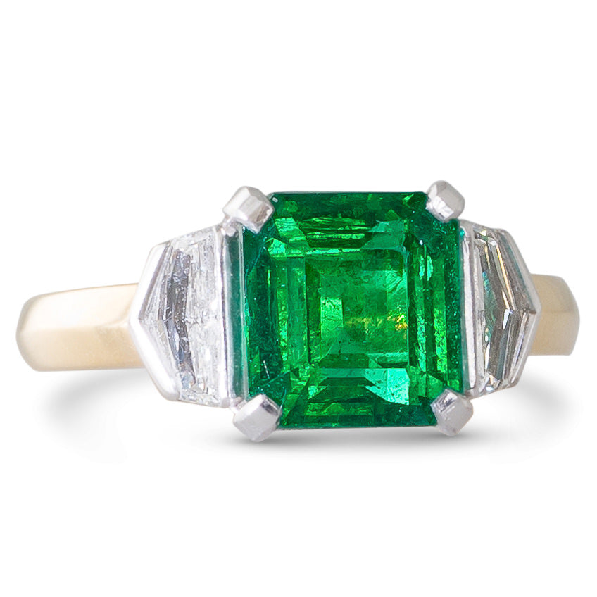 Zambian Emerald and Diamond Ring