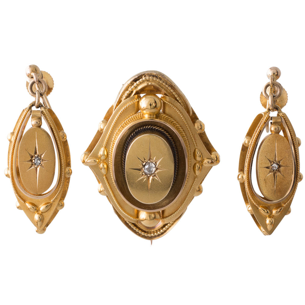Victorian Brooch & Earrings Suite