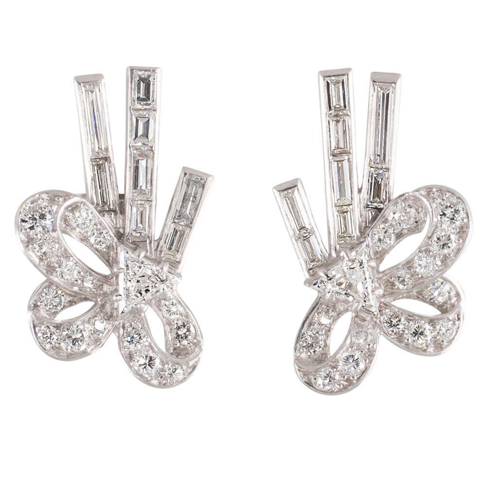 Retro Diamond Bow Earrings