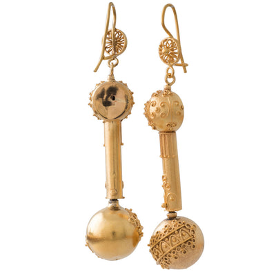 A Pair Victorian Ball Earrings
