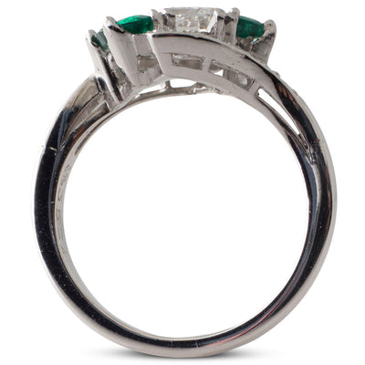 A Diamond & Emerald Crossover Ring