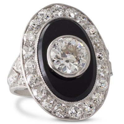 Art Deco Onyx & Diamond Ring
