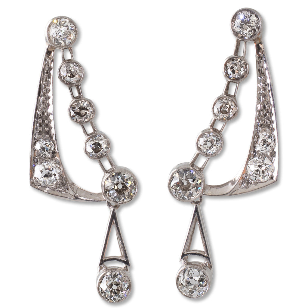 A Pair of Art Deco Diamond Earrings