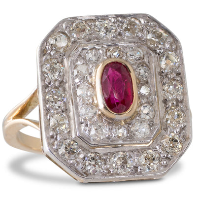 A Ruby & Diamond Cluster Ring