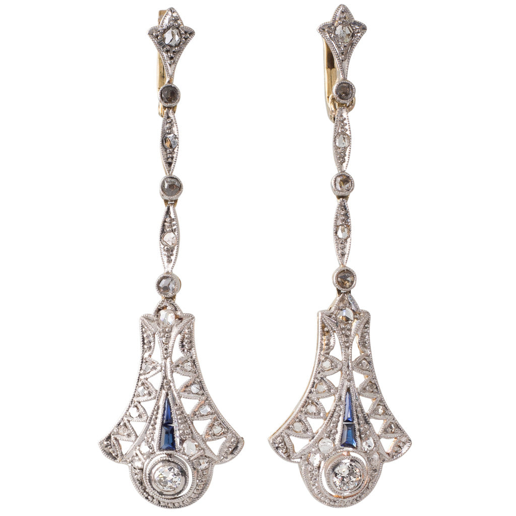 A Pair of Plaque Diamond Earrings
