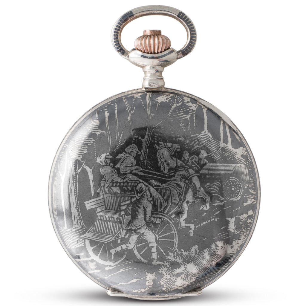 A Silver Niello Pocket Watch