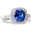 Cushion Sapphire and Diamond Ring