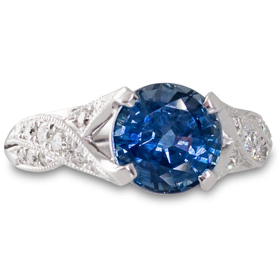 Thai Sapphire and Diamond Ring