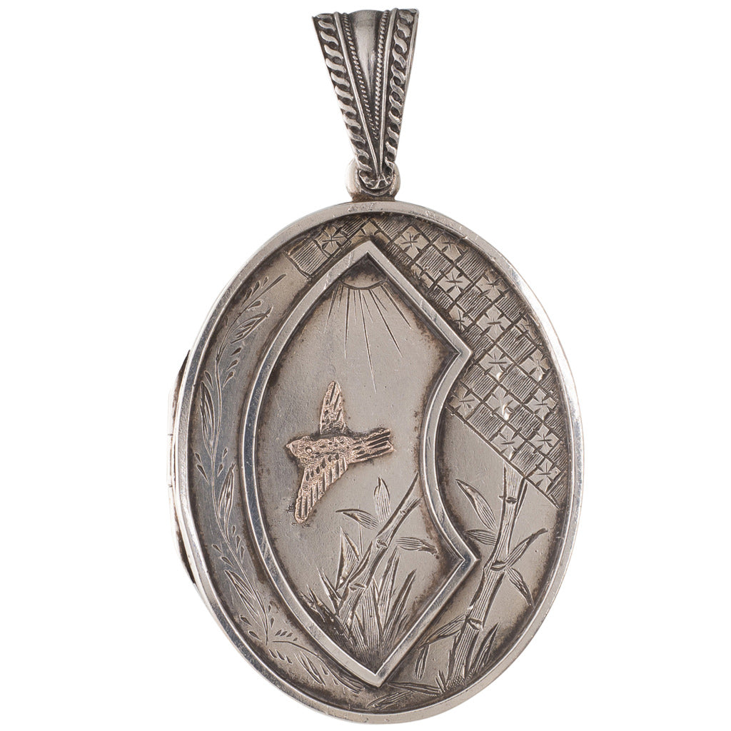 Antique Oval Silver Locket