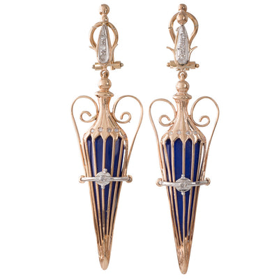Urn Style Earrings with Diamonds