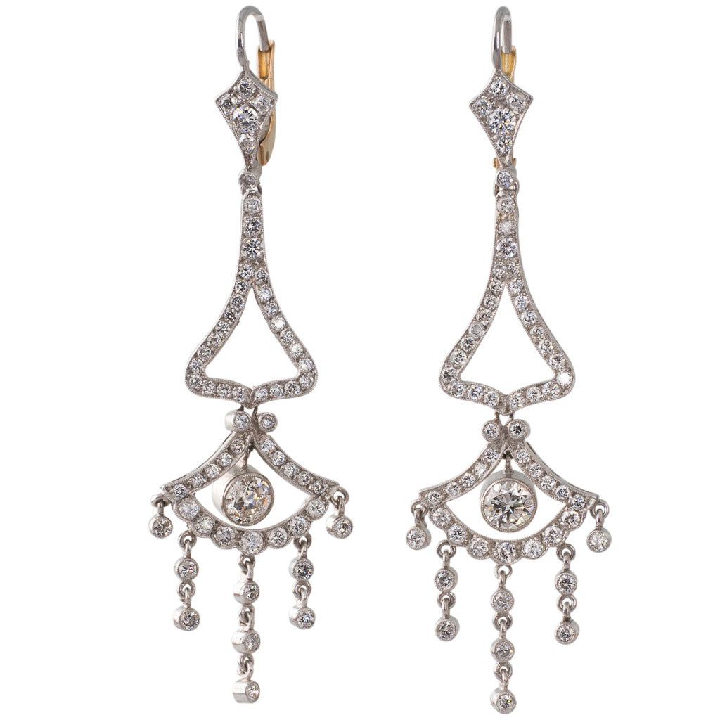 Vintage Diamond Drop Earrings