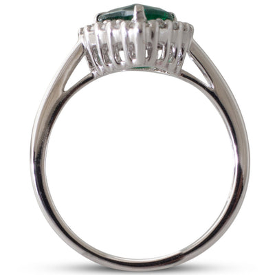 Pear Shape Emerald Cluster Ring