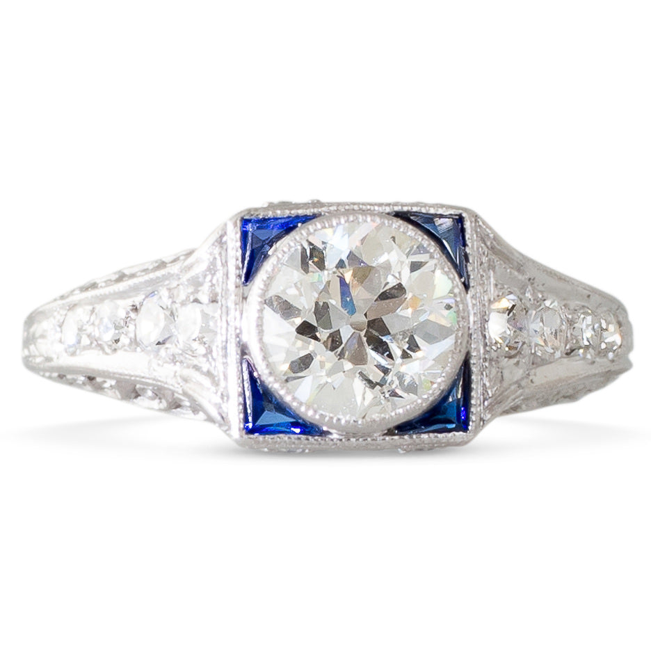Art Deco Diamond Ring with Sapphire