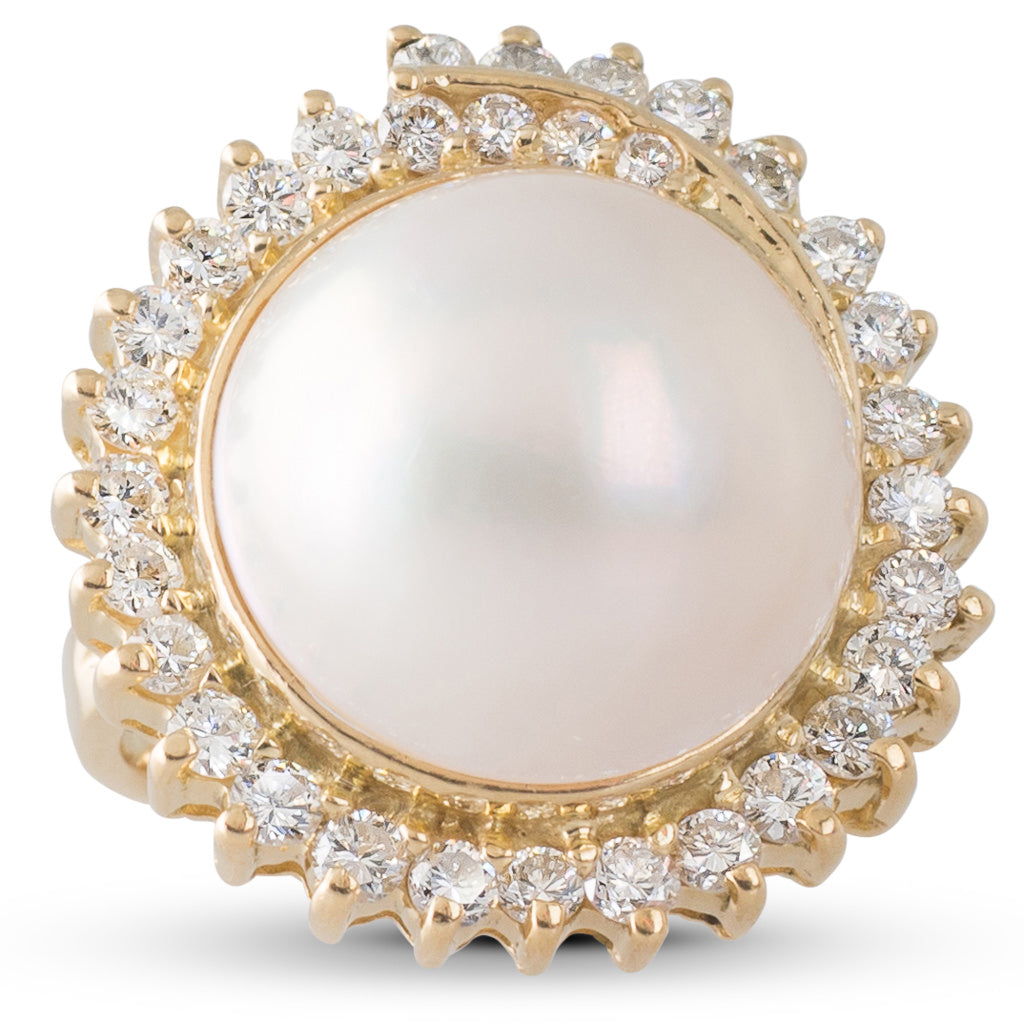 Mabe Pearl & Diamond Ring
