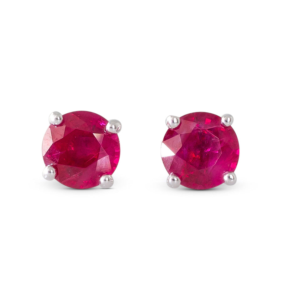 18ct White Gold Ruby Studs