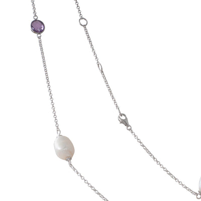 Scattered Pearl & Amethyst Chain
