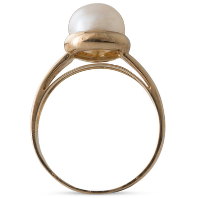 White Freshwater Pearl & Gold Ring