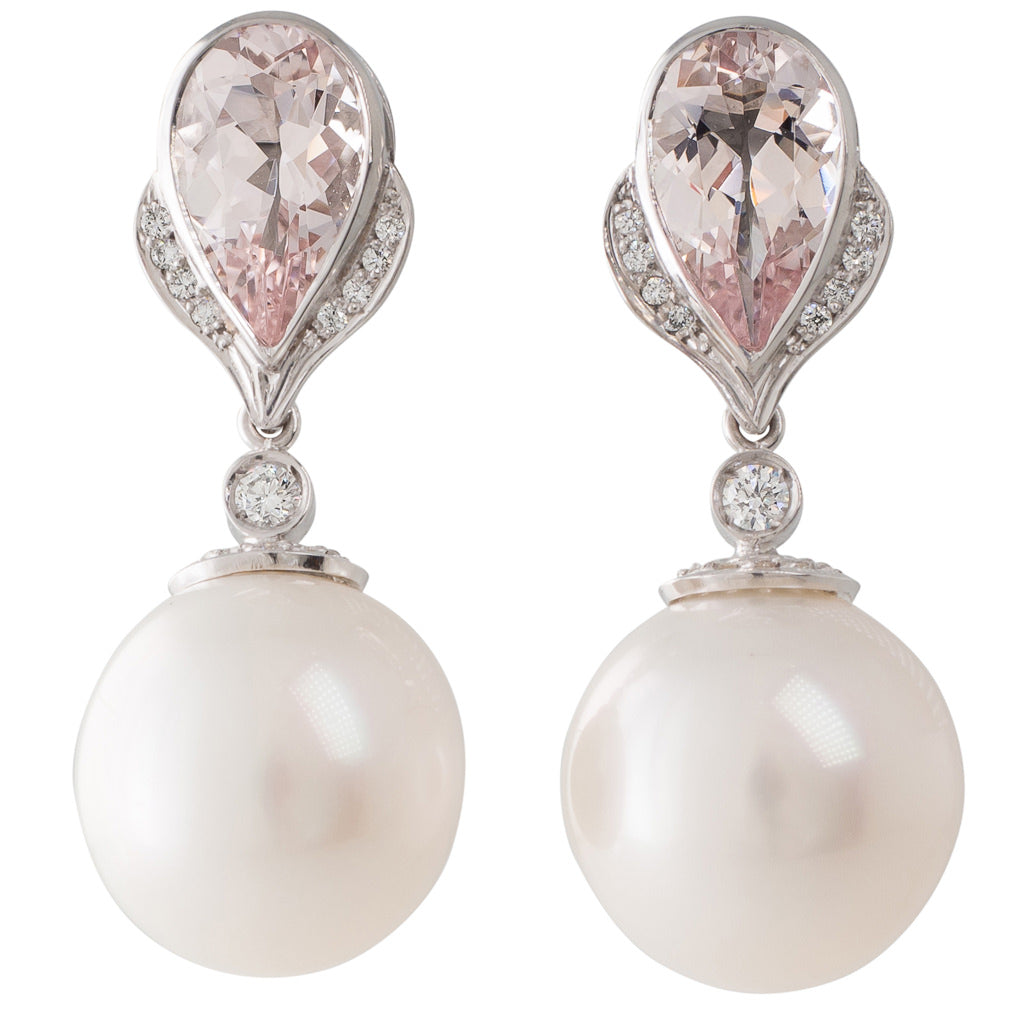 Morganite & White South Sea Earring