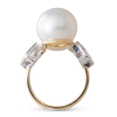 Gold South Sea Pearl & Diamond Ring