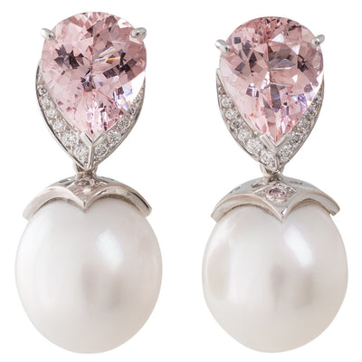 Oval South Sea & Morganite Earrings