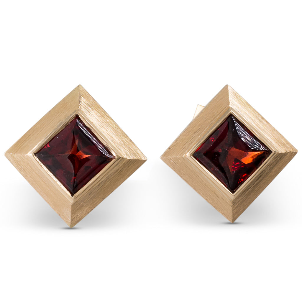Yellow Gold Garnet Bezel Studs