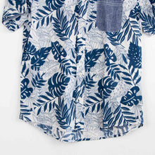 Load image into Gallery viewer, VIN-SHI-07321 Vintage πουκάμισο hawaiian print πετρόλ λευκό unisex S-M